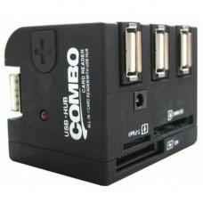 Карт-ридер внешний USB2.0 (+3 USB порта) UHB-FD1 для CF/MD+MS+SD/MMC