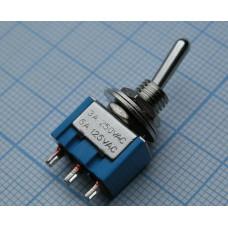 Тумблер мини 3pin 3 полож. 6А/125V (MTS-103) ON-OFF-ON (CY05 F3)