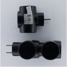Тройник сетевой 3Т черный Toker (250V-10А) /уп.120шт