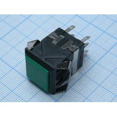 Кнопоч. выкл. квадр. черн. корп. 18х18мм 3A 3V Зелен. D-322 без фиксац