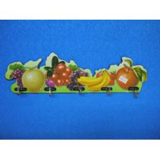 Крючок для полотенец FL-845A на планке 5кр. на липе фрукты пл 24920
