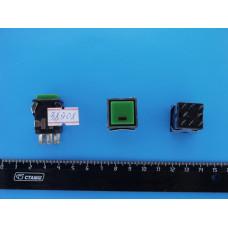 Кнопоч. выкл. квадр. черн. корп. 18х18мм 3A 3V Зелен. D-322 с фиксац.