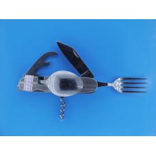 Нож раскладной походный К106H (нож+вилка+ложка сред+3пред,)
