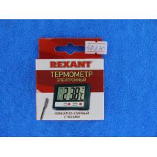 Термометр электронный REXANT комнатно-уличный с часами/70-0505
