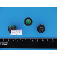 Перек. сет. круглый с подсв. мини 12V (Зеленый) 3pin SMRS-102d-3с