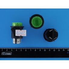 Кнопка пускатель Зеленая Sc-7087 d=24мм 12V (с фиксацией)