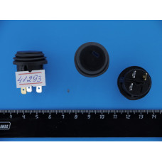 Кнопка пускатель Черная (диод Синий) Sc-777d влаг.12V 3pin с фикс.d=20