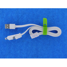 Кабель USB 2,0 - 2 в1 (шт. iPhone 5  + шт. micro USB) 1м резин. каб/1