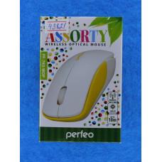 Мышь  Perfeo беспров.оптич. ASSORTY PF-763 бело-желт, USB, 3кн,1000 D