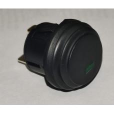 Кнопка пускатель Черная (диод Зелен) Sc-777d влаг.12V 3pin с фикс.d=20