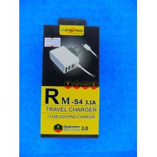 Адаптер 220 => 2*USB + шнур usb-micro USB (3,1А) REMAХ AC-75 Sams G810