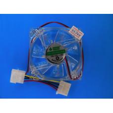 Вентилятор  80*80*25 4pin 12V втулка,провод 30 см C8025B прозр.с син.
