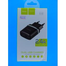 Адаптер 220 => 2*USB (раз, без шнура)  5V 2,4A Hoco C12 /6957531063094