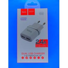 Адаптер 220 => 2*USB (раз, без шнура)  5V 2,4A Hoco C12 /6957531047759