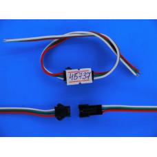 Соединительный разъем 3pin с фиксат. провод 10 см (штекер+гнездо)