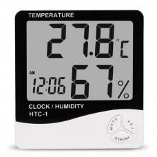 Термометр цифровой HTC -1 (+гигрометр + часы) комнатный