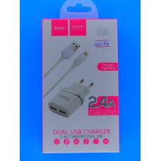 Адаптер 220 => 2*USB 5V-2.4A +шнур usb-iPhone5 Hoco С12/6957531047766