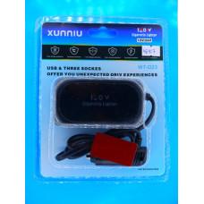 Разветвитель авт. прикурив. XUNNIU 120W (3 вых.+ 2 USB 5V 2,1A/1A)