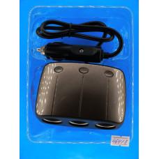 Разветвитель авт. прикурив.WEECLE 120W (3 вых.+ 2 USB 5V 2,1A/1A)