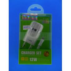 Адаптер 220 => 2*USB 5V-2.4A +шнур usb-iPhone5 Hoco С41А/6957531080589