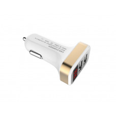 Адаптер 12 => 2*USB (в прикур.без шн.) 5V/ 2,1А + вольтметр, БЕЗ упак.